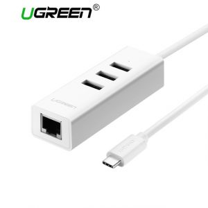 Ugreen USB C to Ethernet Adapter with Type C USB 2 0 HUB 3 Ports RJ45.jpg 640x640